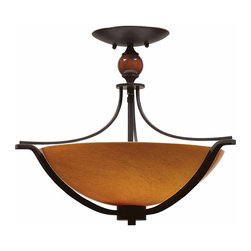 """Triarch - Triarch Halogen Vi Halogen """"6"""" Semi Flush X-ZB-66492 - Halogen VI - Beautiful Hand-Blown Amber Art glass, set in to warm Oil-Rubbed Bronze, is the key to this stunning look."""