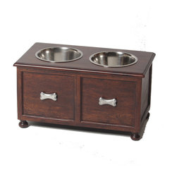 "Large ""Traditional"" Elevated Dog Feeder - No more hiding of plastic bowls when guests arrive - instead enhance your home décor with this solid Acacia wood elevated dog feeder. The natural beauty of this handcrafted double diner creates a rich and sophisticated look."