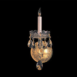 Crystorama - Crystorama 1101-PB-CL-S Traditional Crystal 1 Light Wall Sconces - Traditional crystal pieces are classic, timeless, and elegant. Crystorama's opulent glass arm chandeliers are nothing short of spectacular. This collection is offered in a variety of crystal grades to fit any budget. For a touch of class, order this collection in Gold for traditionalists or in Chrome to match your contemporary or transitional decor.