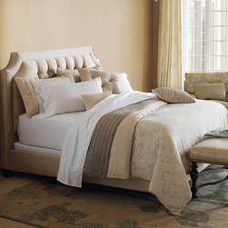 Frontgate - Brookfield Duvet Cover - Duvet cover features decorative fabric on both sides. Soft, neutral shades of taupe and ivory. Button-tufted and hand-tacked comforters have two layers of decorative fabric with polyester batting secured inside to prevent shifting. Bed skirt has split corners and kick pleats. Dry clean only recommended. Bring an air of refined elegance to your home with our Brookfield Bedding Collection. This versatile collection from Eastern Accents features a reversible bed cover with brocade fabric offset by a ruffled, striped bed skirt.  .  .  .  .  . Because this bedding is specially made to order, please allow 4-6 weeks for delivery.. Made in USA of imported goods.