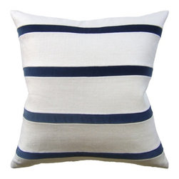 Ryan Studio - Giorgio Linen Stripe Pillow In Bone/Dark Indigo - The Giorgio Linen Stripe pillow has alternating stripes of linen and velvet. Zipper closure with down/feather insert. Made in the US.