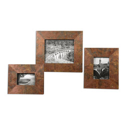 Uttermost - Ambrosia Copper Photo Frames Set of 3 - Frames feature oxidized copper sheeting. The oxidation on each piece will vary due to their handcrafted nature. Holds photo sizes: 4x6, 5x7 & 8x10. Sizes:Sm-9x11, Med-10x12, Lg-13x15