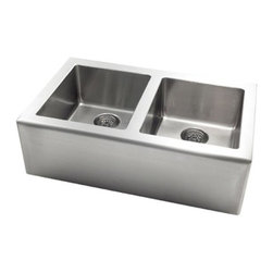 Pegasus - Apron Large Double Bowl Kitchen Sink - AP2033 - Manufacturer SKU: AP2033. Includes mounting hardware. Drains not included. Fully undercoated. Undermount installation. ADA compliant. Made from 18 gauge stainless steel. Apron front: 10 in.. Bowls: 13.5 in. W x 16 in. D x 10 in. H. Overall: 33 in. W x 20 in. D (35 lbs.)