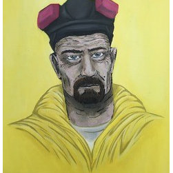 Mr. Heisenberg  (Original) by Anthony Thomas - A bright yellow hazmat suit blended with the background.