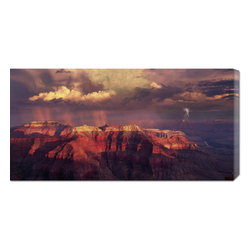 None - Bill Ross 'Sunset Thunderstorm at Grand Canyon' Stretched Canvas - Artist: Bill Ross Title: Sunset Thunderstorm at Grand Canyon Format: Vertical