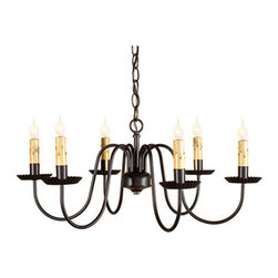 Sheraton Six Arm Chandelier in Black - Noted for its clean sophisticated look, the Sheraton will add a dramatic statement to your formal dining room. The six elegant arms will cast a welcoming glow over your family and friends. Finished in rich black to fit your decorating needs.
