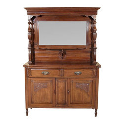 Antiques - Antique English Walnut Edwardian Buffet Sideboard Server w/ Mirror - Country of Origin: England