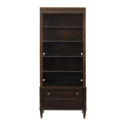 Stanley Furniture - Avalon Heights Boulevard Bookcase - Chelsea Finish - More than a display space for favorite books or treasured mementos, the Boulevard Bookcase also provides a file drawer with a working lock, making this design a welcome addition to an office, as well as the living room. The top deck section features five shelves and a touch light to illuminate your displayed items. The base houses the file drawer and extends out, mirroring the projecting frieze motif found throughout Avalon Heights. Combined they create a piece that is as practical as it is attractive. Made to order in America.