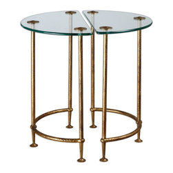 Uttermost - Uttermost Aralu Glass Side Tables Set of 2 24337 - Each a hand-crafted work of forged iron, these half-circle tables stand together or apart, gleaming in antique gold with a secured, tempered glass top.
