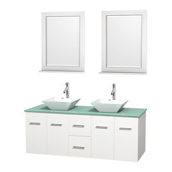 "Wyndham Collection - Centra 60"" White Double Vanity, Green Glass Top, Pyra White Porcelain Sinks - Simplicity and elegance combine in the perfect lines of the Centra vanity by the Wyndham Collection. If cutting-edge contemporary design is your style then the Centra vanity is for you - modern, chic and built to last a lifetime. Available with green glass, pure white man-made stone, ivory marble or white carrera marble counters, with stunning vessel or undermount sink(s) and matching mirror(s). Featuring soft close door hinges, drawer glides, and meticulously finished with brushed chrome hardware. The attention to detail on this beautiful vanity is second to none."