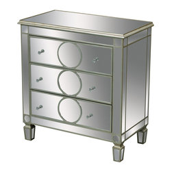 Sterling Industries - Sterling Industries 6043617 Derin 3 Drawer Chest - Silver Edged Rings Add A Contemporary Slant To This Mirrored Chest Of Drawers. Clear Crystal Handles Add A Touch Of Glam.  Chest (1)