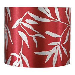 "Lamps Plus - Contemporary Red Drum with Silver Leaves Lamp Shade 12x12x10 (Spider) - This sophisticated drum shade offers a bold look for today's contemporary interiors. Unlined design features a deep scarlet red fabric with printed silver leaves. Create a tantalizing new look by dressing up your existing table and floor lamps. The correct size harp is included with this shade. Red fabric drum shade. Printed silver leaves pattern. Chrome spider fitting. 12"" wide 12"" deep and 10"" high.  Red fabric drum shade.   Printed silver leaves pattern.   Chrome spider fitting.   12"" wide 12"" deep and 10"" high."