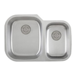 """TCS Home Supplies - 30 Inch Stainless Steel Undermount 60/40 Double Bowl Kitchen Sink - 18 Gauge - 18 Gauge Stainless Steel Kitchen Sink.  D-Bowl with Small Garbage Disposal Side Bowl.  Undermount Installation.  Brushed Stainless Steel Finish.  Dimensions 29-3/8"""" x 20-3/4"""" x 9"""" 