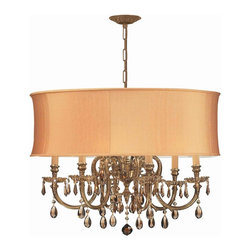 Crystorama - Crystorama 2916-OB-SHG-GTM Brentwood Chandelier - The Brentwood Collection from Crystorama offers a nice mix of traditional lighting designs with large tailored encompassing shades. Adding either the Harvest Gold or the Antique White shade to these best selling skus opens the door to endless possibilities