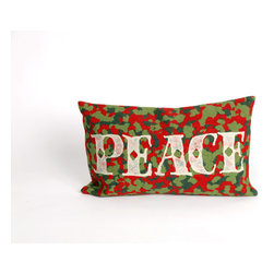 """Trans-Ocean Inc - Peace Red 12"""" x 20"""" Indoor Outdoor Pillow - The highly detailed painterly effect is achieved by Liora Mannes patented Lamontage process which combines hand crafted art with cutting edge technology. These pillows are made with 100% polyester microfiber for an extra soft hand, and a 100% Polyester Insert. Liora Manne's pillows are suitable for Indoors or Outdoors, are antimicrobial, have a removable cover with a zipper closure for easy-care, and are handwashable.; Material: 100% Polyester; Primary Color: Red;  Secondary Colors: green, white; Pattern: Peace; Dimensions: 20 inches length x 12 inches width; Construction: Hand Made; Care Instructions: Hand wash with mild detergent. Air dry flat. Do not use a hard bristle brush."""