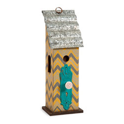 Chevron Pattern Birdhouse w/ Tin Roof - *Add a touch of whimsy to your sunroom or covered garden with the Lylia birdhouse. Painted in bright colors with a bold chevron pattern, accented with an antique styled doorknob and a corrugated tin roof, this birdhouse is full of cheer.
