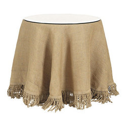 "Ballard Designs - 96 inch Fringed Tablecloth - Lined burlap tablecloth with matching fringe. Lined Tablecloth. Dryclean only.. We've taken the neutral hue and natural texture of burlap and refined it with 6"" bullion fringe made of jute. The result is suited for your dining room, den or bedside. Fringed Burlap Tablecloth features include: . . ."