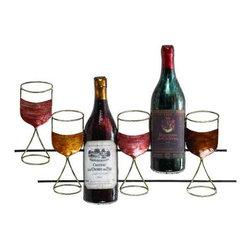 """Metal Wine Wall Decor 68021 - Metal Wine Wall Decor features multi-colored metal wine glasses and wine bottle design. 24"""" W  x 17"""" H"""