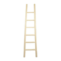Used Lacquered Ivory Bamboo Ladder - A lacquered ivory ladder. The ladder is made of bamboo, a lightweight and strong sustainable material. This ladder functions well as a towel, magazine, or tapestry tack. It is also beautiful in its own right, leaned up agains a wall it adds an interesting sculptural element.    We have 6 ladders available. If you are interested in more than one, please contact support@chairish.com.