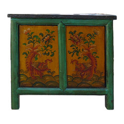 Golden Lotus - Chinese Mythical Dragons Graphic Side Table Cabinet - This is a decorative piece with oriental Myth dragons graphic painted on the doors.