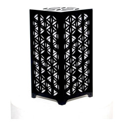 Surface Grooves - PATTAB Lamp Flower of Life,  Black - Want an enlightening experience? This table lamp will cast a positive glow in any room where it lives. It features laser-cut flower patterns and a color-changing LED bulb that produce intriguing multicolor shadows on your walls.