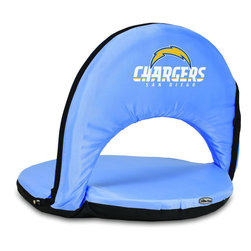 Picnic Time - San Diego Chargers Oniva Seat Recreational Reclining Seat in Blue - When you need a recreational reclining seat that's lightweight and portable, the Oniva Seat is for you. It has an adjustable shoulder strap and six adjustable positions for reclining. The seat cover is made of polyester, the frame is steel, and the seat is cushioned with high-density PU foam, which provides hours of comfortable sitting. The bottom of the seat is black so as not to soil easily. The Oniva Seat is great for the beach, the park, gaming and boating.; Decoration: Digital Print