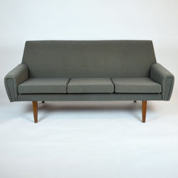 Mid-Century 3 Cushion Sofa Newly Reupholstered in Knoll Grey Fabric - Dimensions:L 68''  × W 30''  × H 29''