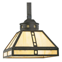 "Progress - Progress-P5020-46-Arts and Crafts - One Light Pendant - GeneralHand painted finish with gold highlightsUnique Mission stylingDie cast square canopyLight Honey Art glass replaceableLight Honey Art glass accent panels in socket cupP5020: 8"" bottom width, 3-5/8"" top width, 4"" ht. (large panel); 8-1/8"" x 1""(small panel); 3"" dia. x 1-3/16"" ht.(round glass)P5021: 15-1/8"" bottom width, 3-3/4""top width, 7-1/2"" ht. (large panel); 15-5/8"" x 1-1/8"" ht. (small panel); 3"" dia. x1-3/16"" (round panel)Detailed cast column (P5021)Detailed cast components3 feet of 9 gauge elongated chain pattern (P5021)18"" stem with 3 feet chain (P5020)Companion fixtures: chandelier, close-to ceiling, wall bracket, hall & foyer, bath &vanity - Fluorescent & Incandescent, accessoriesMountingCanopy 5-1/2"" sq.Chain-hung ceiling mountCovers outlet boxMounting strap for outlet box includedElectrical15 feet of wireThreaded ceramic sockets with locking ring to secure glass & framePre-wired.   Weathered Bronze Finish with Light Honey Art Glass  Lamp Quantity: 1  Lamp Type: Medium Base  Wattage: 100  UL Certified  Wire Length: 180.00"
