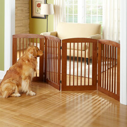 Panel Zigzag Dog Gate - This is not your typical baby gate — and for that matter, it's not your typical dog gate either. This zigzag gate from Orvis provides pet owners with a temporary solution for keeping your four-legged friend out of specific rooms. I like that its wood tone and can work with any decor. And the fact that it can be folded and stored away is an added bonus.