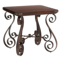 Lexington - Lexington Fieldale Lodge Littleton End Table - The Littleton End Table presents the perfect accompaniment for any seat in your home, with its rustic charm and casual elegance. The Littleton End Table showcases the soft undulation and beauty of an authentic hand-hewn top gracefully harmonizing with the cool, hand-forged iron scrollwork on the base and decorative corner brackets on the top.