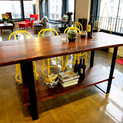 Steel Belt Kitchen Island - We design beautiful, tailor-made furniture, and build it by hand to last forever.  Contact jr@saintarbor.com