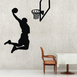 ColorfulHall Co., LTD - Slam-Dunk Jumping Flying Basketball Player Jordan Sports Basketball Wall Decals - You will find hundreds of affordable peel - and - stick wall decal designs, suitable for all kinds of tastes and every room in your house, including a children's movie theme, characters, sports, romantic, and home decor designs from country to urban chic. Different from traditional decals, vinyl wall decals is with low adhesive that allows you to reposition as often as you like without damaging the paint. Application is easy: peel offer the pre-cut elements on the design with a transfer film, and then apply it to your wall. Brighten your walls and add flair to your room is just as easy.
