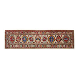 1800 Get A Rug - Ivory Super Kazak Tribal Design 100% Wool Hand Knotted Rug Runner Sh15239 - Our Tribal & Geometric Collection consists of classic rugs woven with geometric patterns based on traditional tribal motifs. You will find Kazak rugs and flat-woven Kilims with centuries-old classic Turkish, Persian, Caucasian and Armenian patterns. The collection also includes the antique, finely-woven Serapi Heriz, the Mamluk Afghan, and the traditional village Persian rug.