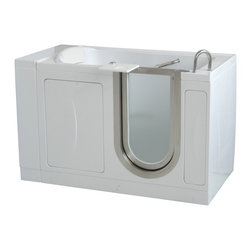 Ella's Bubbles - Ella Royal Soaking Acrylic Walk In Bath Right Side Door and Drain - The Ella Royal Soaking Walk In Tub is the king size version of the Ella Elite walk in tub. The Royal dual massage walk in tub is ideal for individuals who require a wider and more spacious bathtub for a roomier bathing experience. Our Ella Royal models offer a two-inch wider seat than the Ella Elite and a four-inch wider seat than the Ella Deluxe. The Royal offers luxurious features such as a unique detachable swivel tray, wider back rest combined with a more spacious 23.75 inch wide seat, a sleeker designed spout, and a multi-selection pull out hand shower. The Ella Royal walk in bath comes standard with a textured slip resistant floor, two safety grab bars and Dual Drain Technology which features two 2-inch drains, two overflows and two drain openers allowing our walk in bathtubs to be drained in as little as 80 seconds.