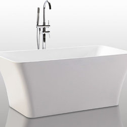 "HelixBath Parva Freestanding Acrylic Modern Bathtub 59"" White - The curves and lines are well conceived & uncomplicated. Exquisite in design, Parva is specifically tailored to provide an ergonomic, comfortable spa experience. Faucets pictured are for display purposes and not included with this tub. Designs created for bathing purists. The curves and lines are well conceived & uncomplicated. Helixbath�s well tailored soaking tubs provide an ergonomic comfortable spa experience. Featuring an easy to clean 3M Fade Resistant finish and stainless steel frame, Parva is the very definition of beautiful longevity."