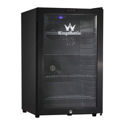 KingsBottle - KingsBottle Black 66-can Compressor Mini Bar Fridge - The 66 Can Compressor Mini Bar Fridge is no slouch when it comes to beverage storage. With almost twice the capacity as the smaller model,this sleek,cooler with a glass door and stainless steel trim will look great under your counter-top.