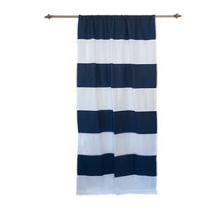 Anna Marty Designs - Organic Navy and White Horizontal Stripe Curtain Panel - Organic navy and white horizontal striped curtain panel by Anna Marty Designs. Instantly bring a modern update to your home! Unlike most striped fabrics, this curtain has a great sense of depth, and high end finish as the stripes are sewn on top of the white curtain base.