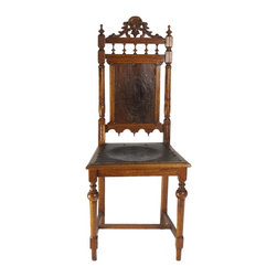 Neoclassic Edward English Oak Chair - A Neoclassic Edward English Oak Chair. Hand Carved with Leather Details in Solid Condition.
