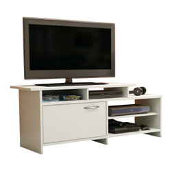 South Shore - South Shore Maddox Collection TV Stand in Pure White - South Shore - TV Stands - 3160661 - This asymetrical TV stand will bring a trendy contemporary look to your living room. It offers both practical easy-access open storage and a closed storage compartment as well. Its neutral and trendy finish will easily blend right in with any decor.