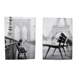 Pair of Black/White French Park Bench Printed Canvas Art - This complementary pair of canvases feature artistic black and white photo images of park benches. Each one shows a bench with a French landmark in the background. Each measures 28 inches tall, 20 inches wide, 1 inch deep and mounts to the wall with a single nail or screw. They are a wonderful addition to any room in your home, and look great in restaurants and cafes.