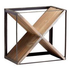 Cyan Design - Cube Wine Holder - Cube Wine HolderRaw Iron and Natural Wood