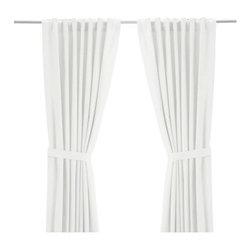 RITVA Pair of curtains with tie-backs - Pair of curtains with tie-backs, white