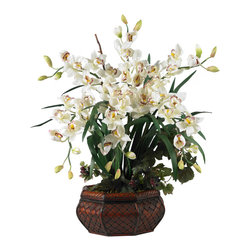 """Nearly Natural - Large Cymbidium Silk Flower Arrangement - In taking just one look at this vibrant and lovely plant, you will see the energy radiating from the bright colors and perky blossoms.  This plant will be a sure favorite among owners and visitors alike with its tall 36"""" stature; bold, sturdy planter; and bright, cheery presence.  Couple that with its total ease of care, and it will ensure that it will remain a household fixture for years to come."""