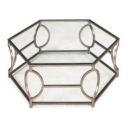 Magnussen Home Furnishings - Nevelson Hexagonal Glass Cocktail Table - Add a piece of modern design to your decor area with this striking hexagonal cocktail table in antique silver, with clear tempered glass. This structured angle-cut glass piece from the Nevelson Collection will surely charm your room.Ç