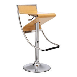 Zig-Zag Height Adjustable Bar Stool in Natural