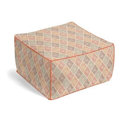 Red & Orange Diamond Block Print Custom Pouf - The Square Pouf is the hottest thing in decor since the sectional sofa. This bean bag meets Moroccan style ottoman does triple duty as a comfy extra seat, fashion-forward footstool, or part-time occasional table. We love it in this hand printed diamond pattern in autumnal hues of red, orange and plum. Artisan flare for any style home.