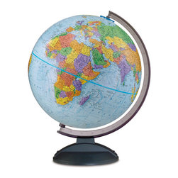 "Replogle - Traveler Desktop World Globe - Lightweight Durability. This 12"" blue ocean globe with full raised relief is a great tool for high school and college students. The smoke black high quality plastic base and semi meridian are scratch resistant and lightweight. Young adults will appreciate the detailed legend and easy to distinguish political boundaries of this earth globe as they try to understand the world's current events."