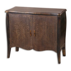 Uttermost - Uttermost 24175  Etoile Antiqued Console Cabinet - Painted black finish with rub through distressing. curved doors are rust brown with cloth texture and raised relief. one fixed shelf.