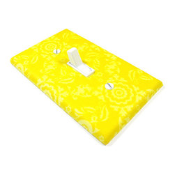 Modern Switch - Sunny Yellow Damask Light Switch Cover Switchplate - This light switch cover is made when ordered please allow 1-2 weeks before shipping.