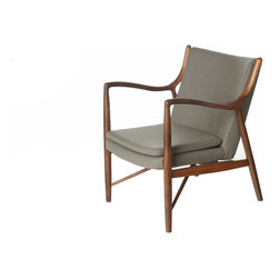 Design Tree Home - Finn Juhl Inspired 45 Chair Walnut Frame in Grey - Relax in modern luxury while infusing your home with nature-inspired style with the relaxed yet sophisticated Finn Juhl Style 45 Chair by Design Tree Home. This contemporary armchair is defined by its beautiful solid wood frame featuring sumptuous curves reminiscent of nature's fluidity and crisp, clean lines that reflect modern design. As functional as it is stylish, the wooden frame is quality-crafted to ensure long-lasting strength and stability. A padded seat topped with a plush cushion ensures superior comfort while a cushioned and curved backrest cradles your back for surpassing support.